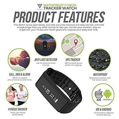 Waterproof Fitness Tracker Watch with Heart Rate & Sleep Monitor by Vitchelo - Bluetooth Fitness Trackers & Wrist Pedometer with Activity, Exercise, Health, Blood Pressure, Distance & Calorie Counter