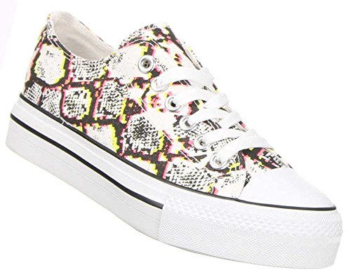 Schuhcity24 Damen Schuhe Freizeitschuhe Farbige Plateau Sneakers Gelb Multi 37