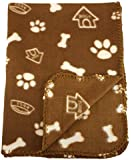 30x21 Inch Dog / Cat Fleece Blanket - Bone and Paw Print Assorted Color Pet Blankets by bogo Brands (Brown)