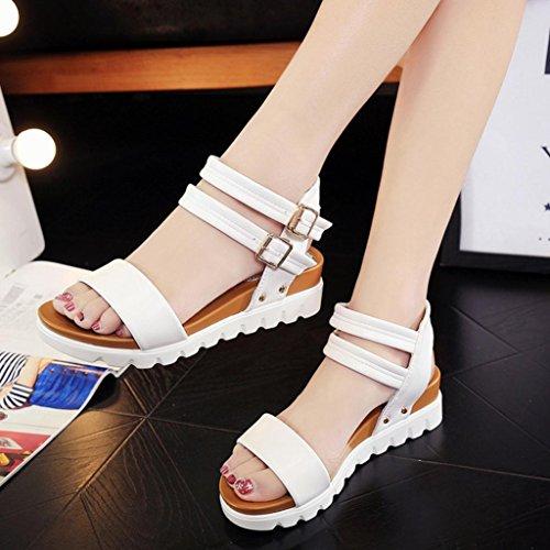 De Mujer Planos Cuero Amlaiworld Calzado Blanco Las Zapatos Los Sandalias p4Oxq