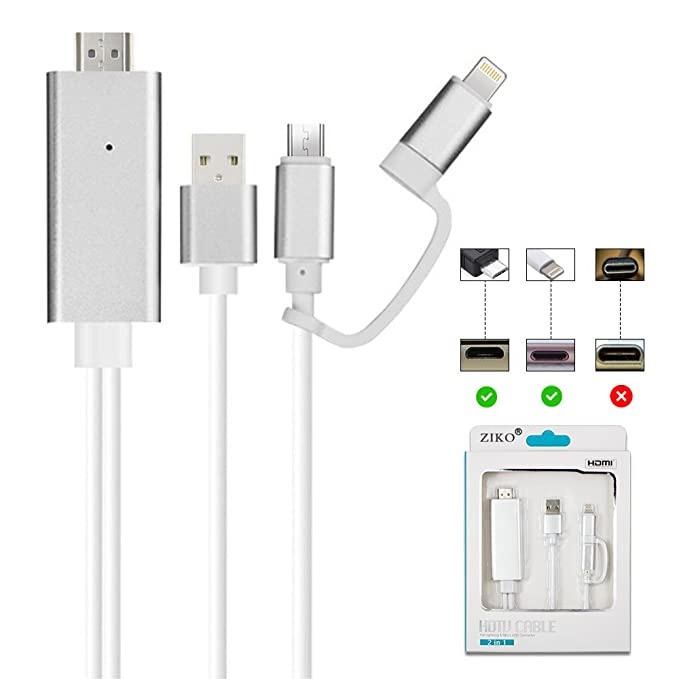 Adaptador HDMI para iPhone/Android, ZIKO 2 m/6.5ft 3 en 1 ...