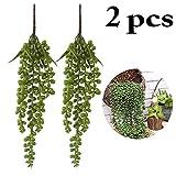 Outgeek Artificial Succulent Plants, 2PCS String of Pearls Artificial Hanging String of Pearls Plant Fake Succulent Hanging Lover Tears Plants Hanging Basketplant