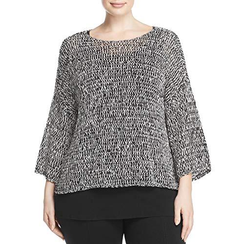 Eileen Fisher Nylon Cardigan - Eileen Fisher Womens Plus Bateau Box Top Pullover Sweater B/W 1X Black/White