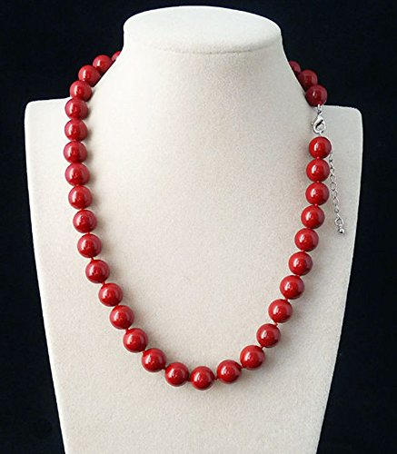 Fashion 10mm Genuine Coral Red Round South Sea Shell Pearl Necklace 18'' AAA