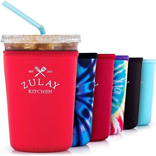 Zulay (22oz to 24oz) Reusable Iced Coffee Sleeve - Medium Sized Neoprene Insulator Coffee Sleeves - Flexible Ice Coffee Sleeve For Starbucks, McDonalds, Dunkin Donuts, & More (Red)