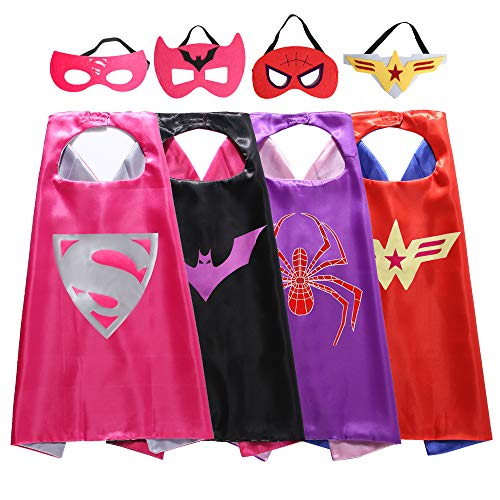 Zaleny Superhero Dress up Costumes Capes and Masks for Girls -