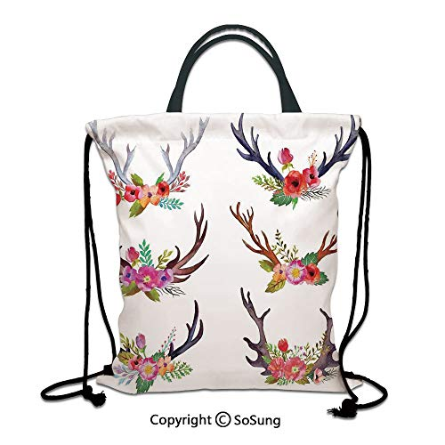 Antlers Decor 3D Print Drawstring Bag String Backpack,Deer Horns Bouquet Flowers Bloom Fun Springtime Garden Branches Decorative,for Travel Gym School Beach Shopping