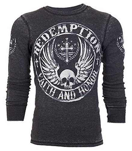 Archaic AFFLICTION Men THERMAL T-Shirt SKULL USA FLAG Tattoo Biker UFC – DiZiSports Store