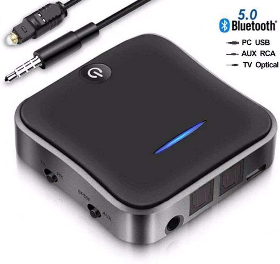 2-in-1 Bluetooth 5.0 Transmitter Receiver Adapter AptX Low Latency Bluetooth Audio Transmitter for TV PC (Optical Digital Toslink,3.5mm Aux,RCA,PC USB) 32ft Range, Dual Link, No Audio Delay