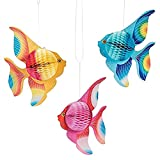 STOBOK Tissue Paper Foldable Tropical Fish Decoration Hanging Ornament Party Supplies 6pcs (Gold + Pink + Blue)