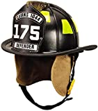MSA 1044FDB Cairns Fire Helmet with 4'' Tuffshield, Deluxe Leather, Crown Pad, PBI/Kevlar Earlap, Nomex Chinstrap with Quick Release, Postman Slide and 6'' Carved Brass Eagle, Black