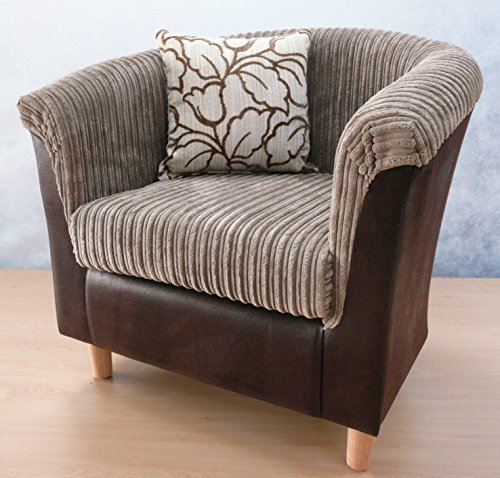 Traditional shape tub chair Luxury in mink jumbo cord brown faux leather surround j&m furnishings