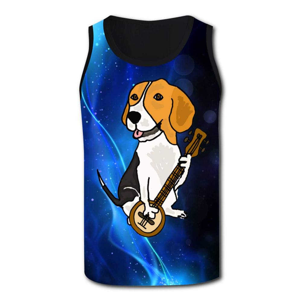 Mens Outdoor Sport Dog Playing Banjo Tank Top Vest T-Shirt Fast Drying Stylish Sleeveless Tee