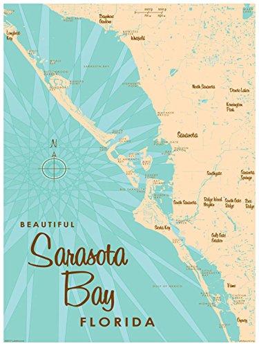 Sarasota Bay Florida Vintage-Style Map Art Print Poster by Lakebound (18