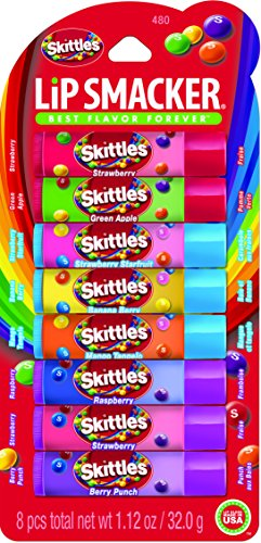 Lip Smacker Skittles Party Pack, 8 count (Best Tasting Lip Balm For Kissing)