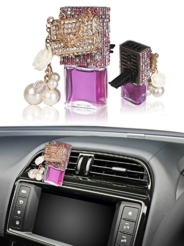 Auto Perfume Bottle, Mini-Factory Luxury Bling Car Air Vent Decoration 3D Crystal Refillable Glass Air Freshener Empty Bottle for Car - Handbag (Bottle only, Perfume NOT included) (Purple) (Bling Air Freshener For Car compare prices)