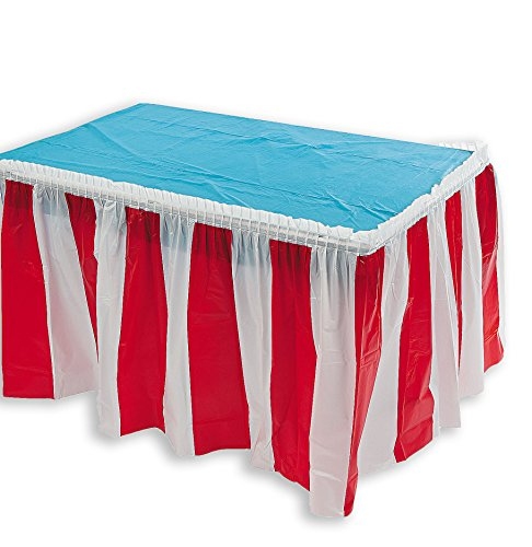 Carnival Circus Themed Table Skirt Party Decoration Red & White Striped 14 Feet x 29 Inches Summer Parties Decor, By 4E's Novelty]()