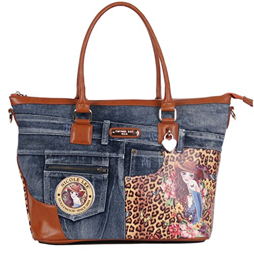 Nicole Lee Wanda Denim Print Overnighter with Laptop Compartment, Sandra Camel, One Size