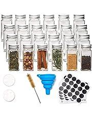 EZOWare 24 fles vierkant glas kruidenpotjes set, 120 ml lege helder kruiden organizer kit met luchtdichte aluminium dop, trechter, reinigingsborstel en lege krijtbord etiketten