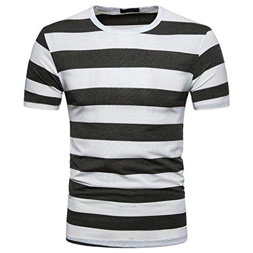 Bluestercool Été T-Shirt à Col Rond Décontracté à Rayures Pour Hommes Gris foncé