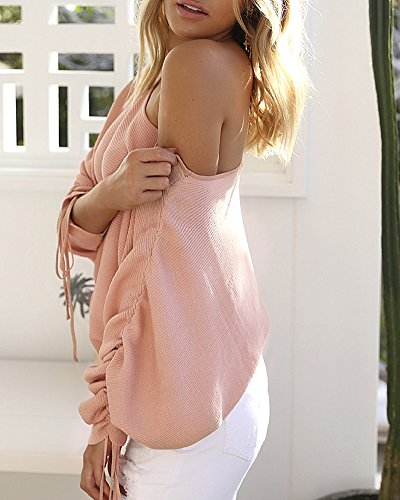 Longues Shirt Tops pink Manches Over Femme Pull Chic Blouse Haut Sweat Pull t7x6v7qwF