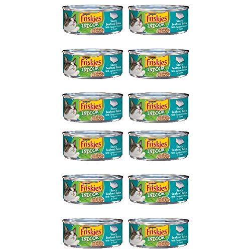 12 Cans of Purina Friskies Wet cat Food 5.5oz ea (Indoor Saucy Seafood Bake)