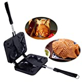 Funnytoday365 Japanese Fish-Shaped Bakeware Waffle Pan Maker 2 Cast Home Cake Tools