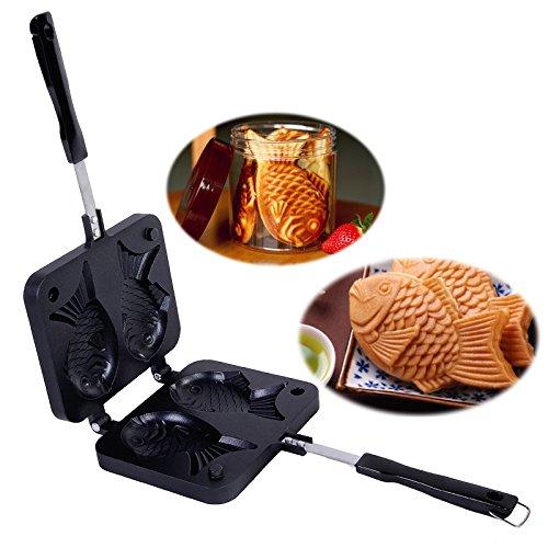 Funnytoday365 Japanese Fish-Shaped Bakeware Waffle Pan Maker 2 Cast Home Cake Tools