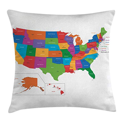 Ambesonne Wanderlust Throw Pillow Cushion Cover, Colorful USA Map with States and Capital Cities Washington Florida Indiana Print, Decorative Square Accent Pillow Case, 20 X 20 inches, Multicolor