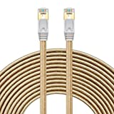 Cat7 Ethernet Cable 65ft, SNANSHI Cat 7 RJ45 LAN Network Cable High Speed Durable Nylon Braid STP with Gold Plated Plug for Modem Router LAN Network