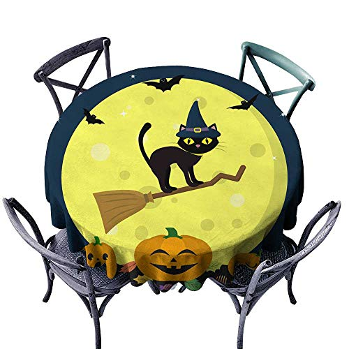 Party Table Cover A Halloween cat in a Witch hat Flies on a Broomstick Against a Full Moon at Night Three Pumpkins of Halloween Sweets and Leaves Volatile Vampires and Stars Autumn Holiday D70,Party ()