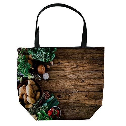 iPrint Handbag Canvas Shoulder Bag Small and Fresh Literature and Art,Harvest,Vibrant Fresh Vegetables on Grunge Backdrop Ripe Organic Healthy Food Agriculture,Multicolor,Picture Print Design.