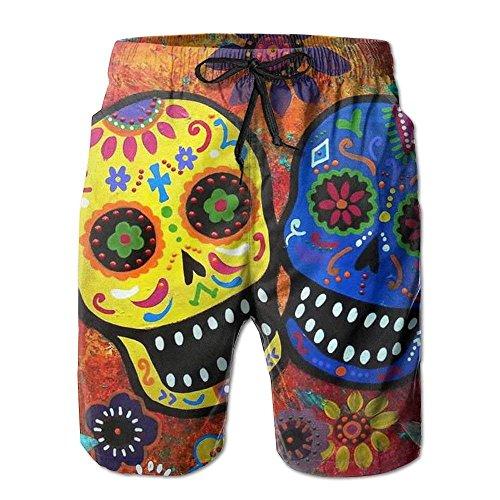 Nouveaux Pantalons De Plage Hommes De Crâne De Sucre Mort, Short Shorts De Plage Nager Troncs Blancs