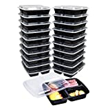 Meal Prep Containers 3 Compartment with Lids By Green Direct - Food Storage Bento Box | BPA Free | Stackable | Lunch Boxes Great for Takeout/Portion Control / 21 day fix or To Go Pack of 20