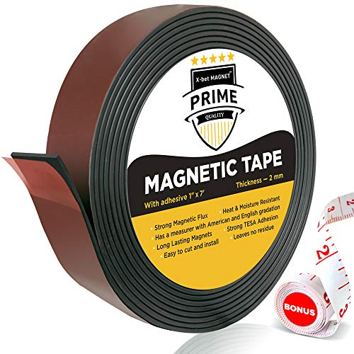 Flexible Magnetic Strip - 1 Inch x 7 Feet Magnetic Tape with Strong Self Adhesive TESA - Great Craft Magnets for DIY Projects and Photo - Sticky Magnetic Sheets ()