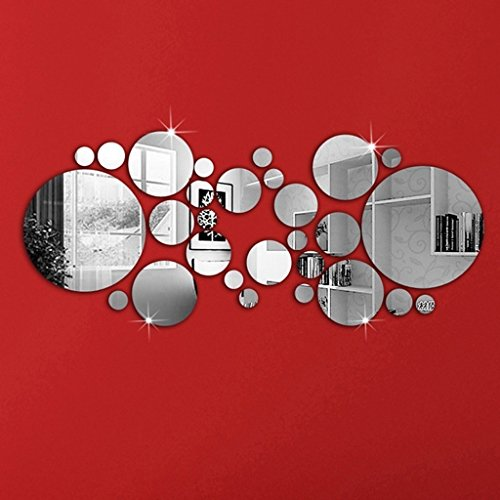 Stickers Acrylic (OMGAI DIY Mirror Wall Sticker, Removable Round Acrylic Mirror Decor of Self Adhesive Circle for Art Window Wall Decal Kitchen Home Decoration, 30Pcs)