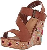 Sugar Women's Haley Platform Strappy Buckled Cork Wedge Sandal, Cognac Embroidery, 7 M US