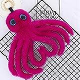 Large Key Chains for Women Novelty 2018 Cute Octopus Keychains Women Pompom Artificial Rex Rabbit Fur Car Key Ring Long Tassel Fluffy Key Chain Bag Jewelry