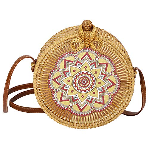 AllBombuu Printing Round Rattan Crossbody Bag,Straw Boho Bag for Women Purse Handmade Clutch Woven Shoulder Bag (Joyful), 7.8 IN