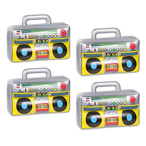90s Halloween Party (4 PCS Inflatable Boombox - 80s 90s Party Decorations Supplies Inflatable Boom - Rappers Hip Hop B-Boys Costume Accessories Box(16.5)