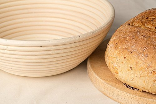 BabyFoxy 8.5Round Brotform Banneton Bread Proofing Baskets Dough Rising Rattan Bread Bowl with Liner and a bread dough whisk