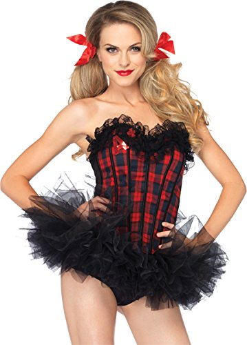 Leg Avenue Women's Easy A Plaid School Girl Corset Costume Accessory, Red, (Easy A Costumes)