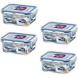 LOCK & LOCK (Pack of 4) Airtight Rectangular Food Storage Container 6-oz / 0.76-cup
