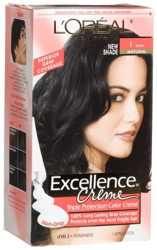 Amazon.com : L\'oreal Excellence Cream #1 Black Natural, Hair Color ...