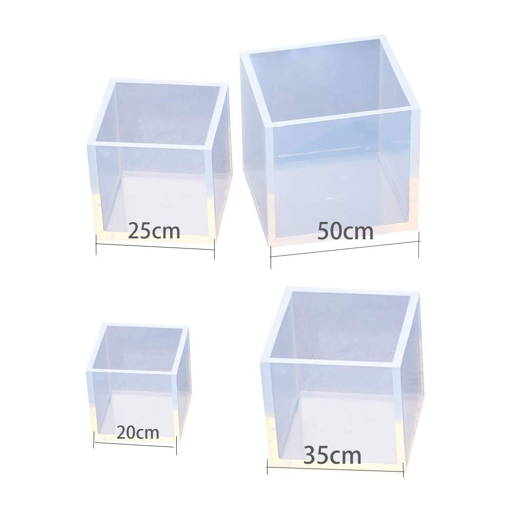 20//25//35//50mm Square Cube Resin Casting Molds Large Clear DIY Silicone Molds for Epoxy Resin DIY Craft Making Accessories-4pcs