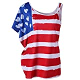 Anxinke Independence Day Women American Flag Printed Short Sleeve One Shoulder Summer Tee Shirts (XXL)