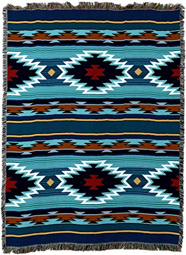 Pure Country Weavers - Balpinar Southwest Blanket | Woven Tapestry Camp Throw with Fringe Cotton USA 72x54
