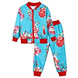 SMALLE ◕‿◕ Clearance,Kids Baby Girls Boys Clothes Set Floral Print Zipper Tops Coat Pants Outfits