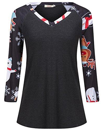 Roshop Women Christmas Bear Matching Buffalo Family T-Shirt(Snowflake,Small) - Christmas Womens Cut T-shirt