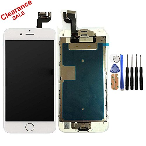 CELLPHONEAGE For iPhone 6S 4.7 Inch New LCD Touch Screen Replacement With Home Button and Camera With 3D Touch White Full Set Digitizer Glass Disply Assembly Replacement - Glasses Fixing Scratched